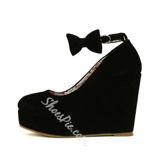 Hot Sale Black Wedge Heels with Bowtie