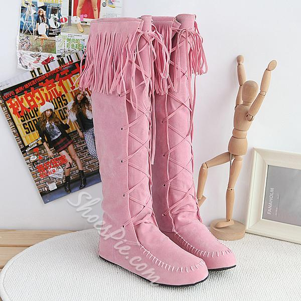 Fashionable Knee High Flat Boots with Tassels