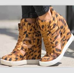 Comfortable Leopard Wedge Heel Sneakers