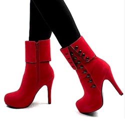 Red Platform Ankle Boots With Button