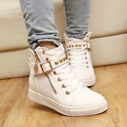 Fashion Side Zipper Buckle Rivet Canvas Shoes