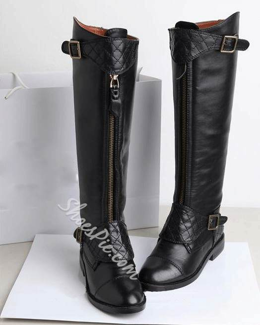 New Arrival Genuine Leather Flat Heels Knee High Boots