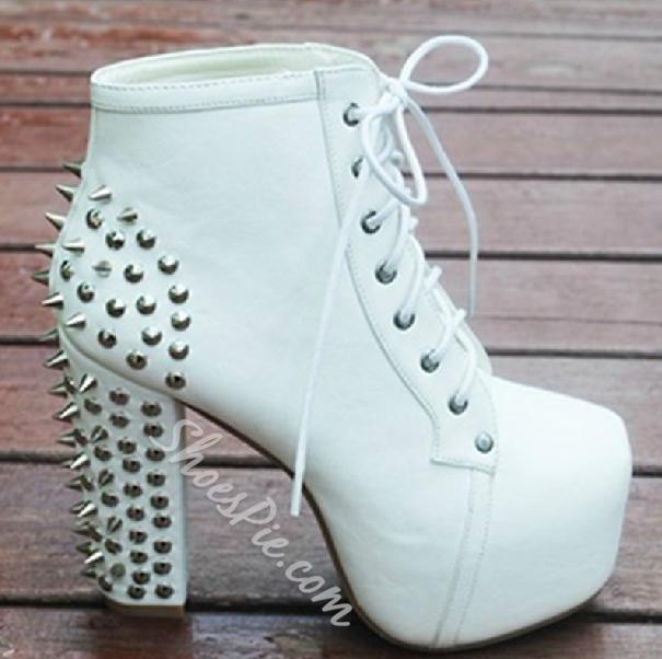 Fashion Black Lace-up Platform Chunky Heels Ankle Boots with Rivets