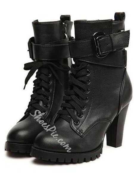 Deluxe Black Chunky Heels Ankle Boots- Shoespie.com