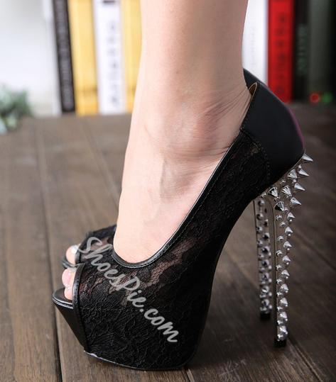 Sexy Rivets Mesh Upper Peep-toe Stiletto Heels