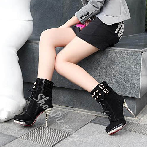 Shining Golden Stiletto Heels Lace-up Ankle Boots
