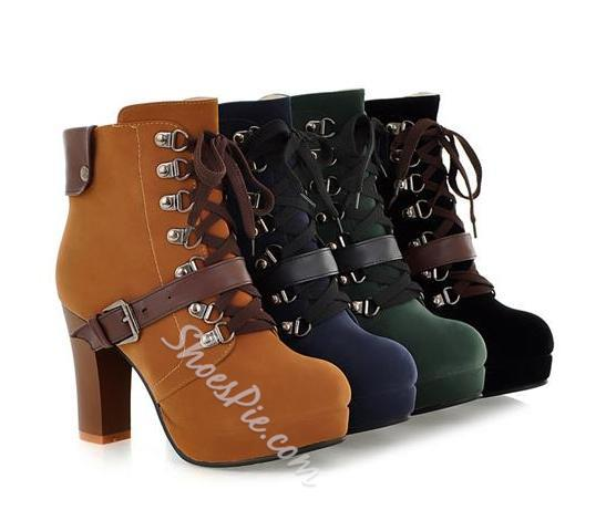 Attractive Chunky Heels Ankle Boots with Buckle- Shoespie.com