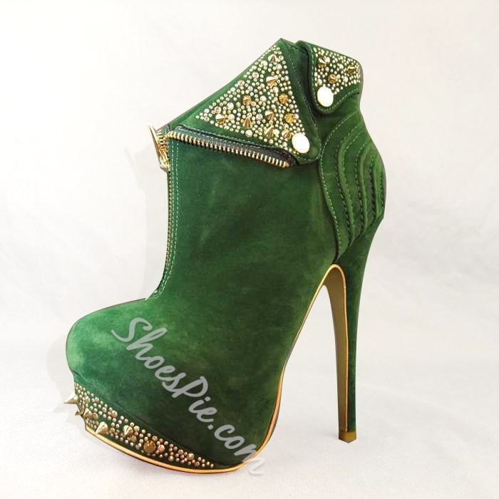 Sexy Platform Heels Ankle Boots With Rivets