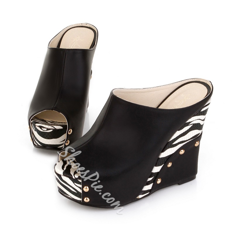 Impressive Black Peep Toe Wedge Slippers