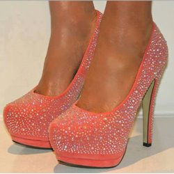 Sparkle Pink Rhinestone Sky-high Stiletto Heels