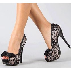 Sexy Black Mesh Upper Peep-toe Stiletto Heels with Bowtie
