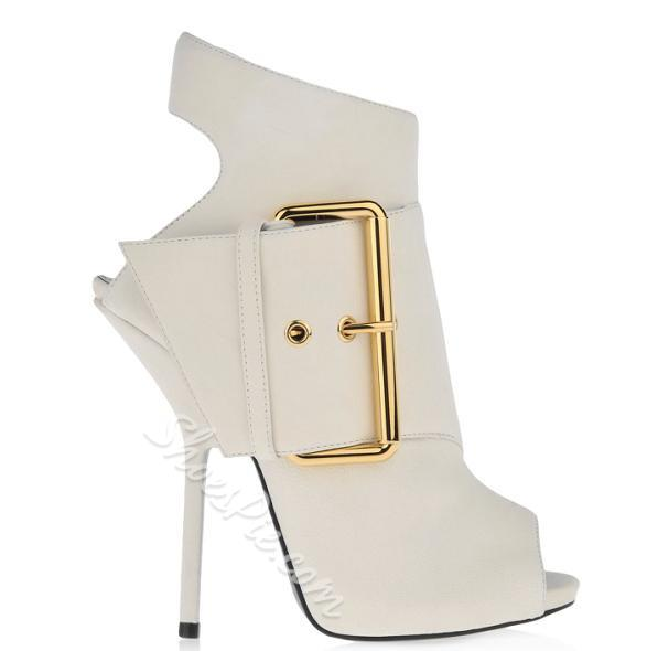 Elegant White Peep-toe Buckle Dress Sandals