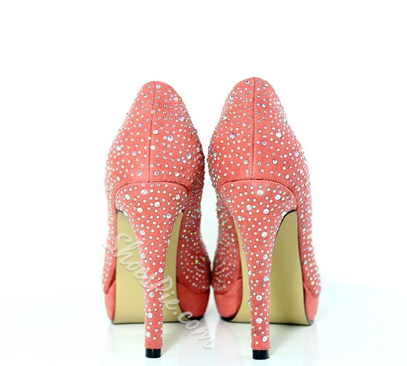 Sparkle Pink Rhinestone Sky-high Stiletto Heels- Shoespie.com