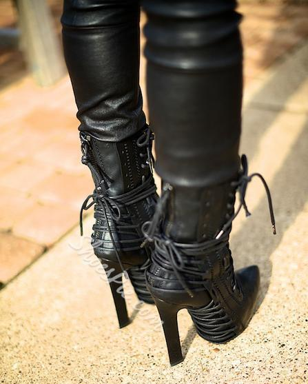 Sexy Pointed-toe Lace-up Chunky Heels Ankle Boots