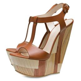 Fashionable Sky-High Brown Wedge Heels Sandals