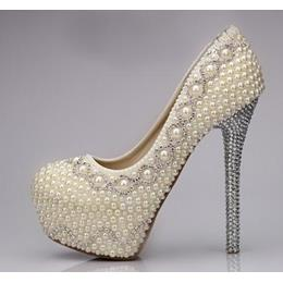 Amazing Sparkle Pearls Bridal Shoes
