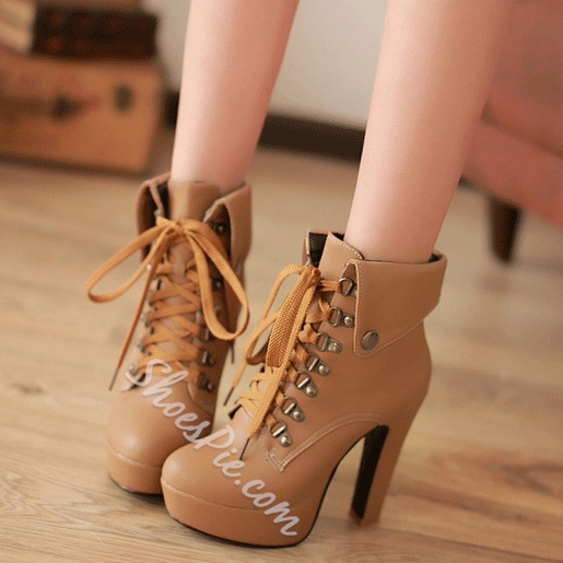 Eurameriacn Style Apricot Lace-up Chunky Heel Boots