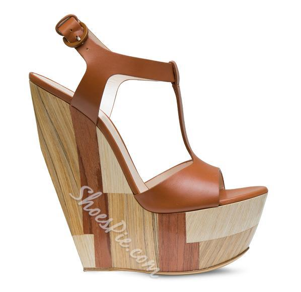 Fashionable Sky-High Brown Wedge Heels Sandals- Shoespie.com