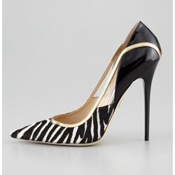 Stylish Zebra-Stripe Cut-Outs Pointed-toe Heels