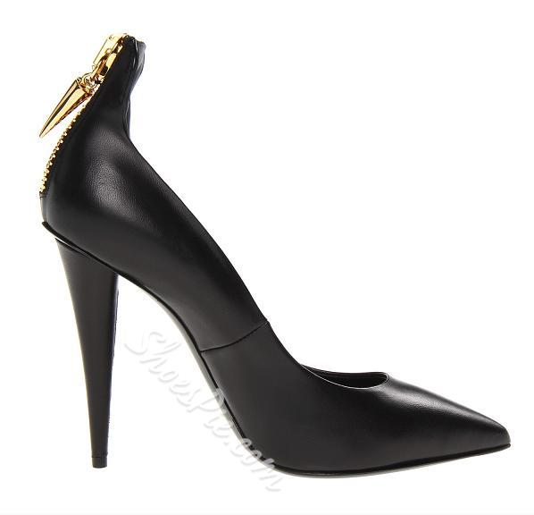 Sexy Black Pointed-Toe Stiletto Heels with Metal Ornament