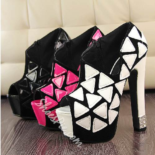 Sexyl Contrast Color Peep-toe Ankle Boots