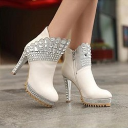 Fashion Big Diamond Ankle Boots
