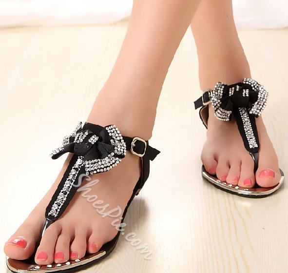 Sweet Girls With Bow Pink Heels Flat Sandals KFl1JTc