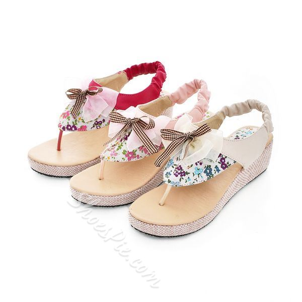 cute wedge heels thong sandals with bows shoespiecom