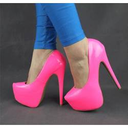 Contrast Colour Patent Stiletto Heels