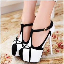 Shoespie Fashionable Contrast Color Platform Heels