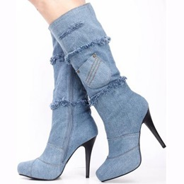 Shoespie Chic Light Denim Blue Fringe Pocket Appliqued Knee High Stiletto Boots