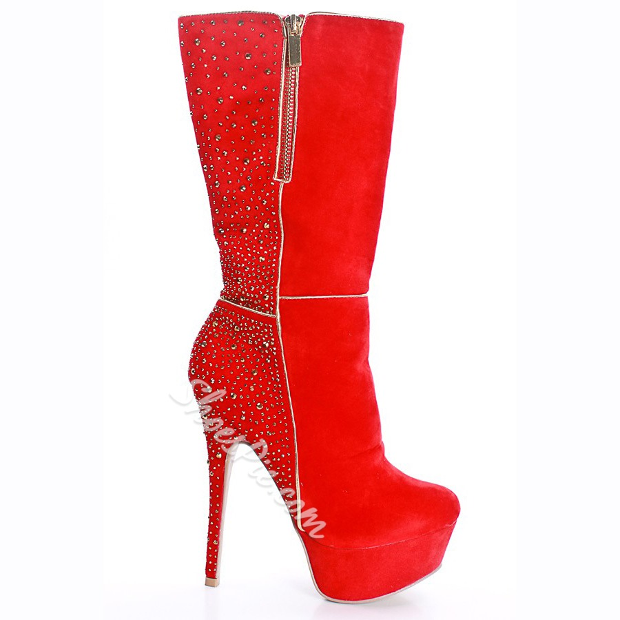 1aedea4cb57 Red Suede Rhinestone Knee High Heel Boots- Shoespie.com