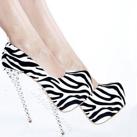 Fashionable Zebra Platform Stiletto Heels With Rivets