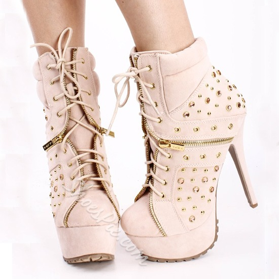 Alluring Pink Zipper Lace-Up Ankle Boots