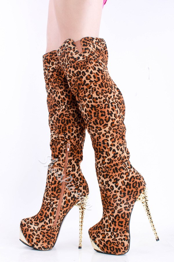 Hot Leopard Suede Knee High Boots