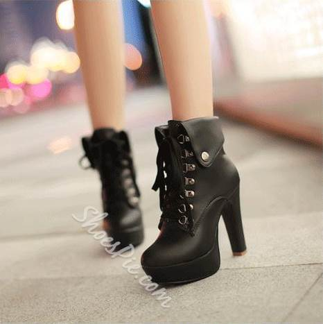 Euramerican Platform Lace-up Ankle Boots