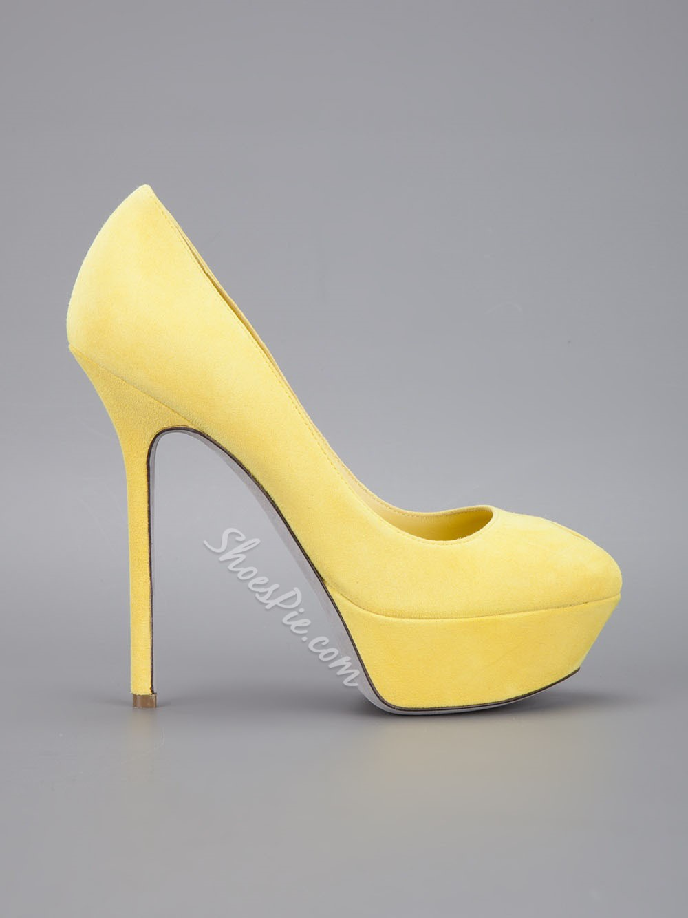 Yellow Suede Upper Peep-toe Heels- Shoespie.com