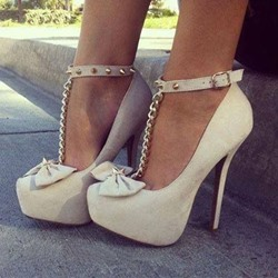 Elegant Bowknot Ankle Strap Platform Heels