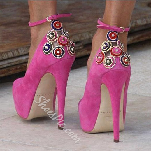 Glaring Rose Beading Ankle Strap Stiletto Heels