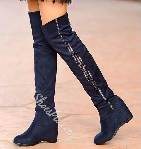51cdeff5f7a Cheap Comfortable Black Suede Flat Heel Knee High Boots- Shoespie.com