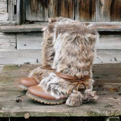Comfortable & Concise Brown Suede Rabbit Hair Snow Boots
