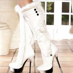 New Arrival Concise White Suede Knee High Boots