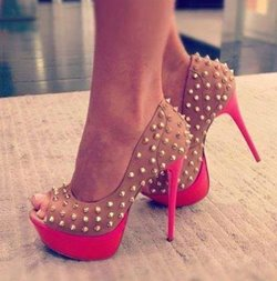 Chic Rivets Contrast Color Peep-Toe Heels