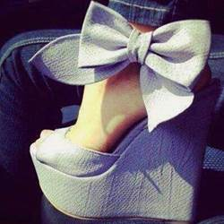 Cool Show Elegant Bowtie Peep Toe Wedge Heel Sandals shoespie