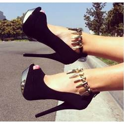 Chic & Fashionable Black Suede Platform Heels