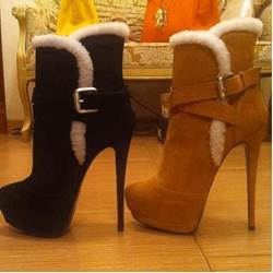 Elegant Suede Stiletto Heel Boots With Buckle