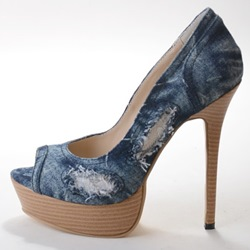 Chic Denim Peep Toe Thick Platform Heels shoespie