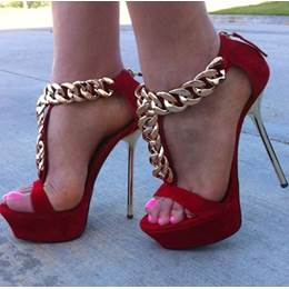 Sexy Red Metal Heel Ankle Strap Thick Platform High Heel Sandals