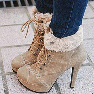 Retro Comfortable Lace-Up Suede High Heel Boots