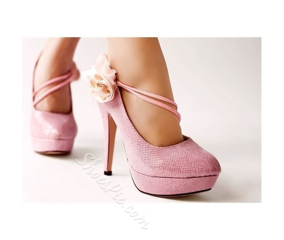 Sexy Pink High Heels Platform Women Shoes with Flowers- Shoespie.com